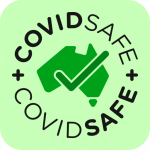 Covid Safe logo - green with tick