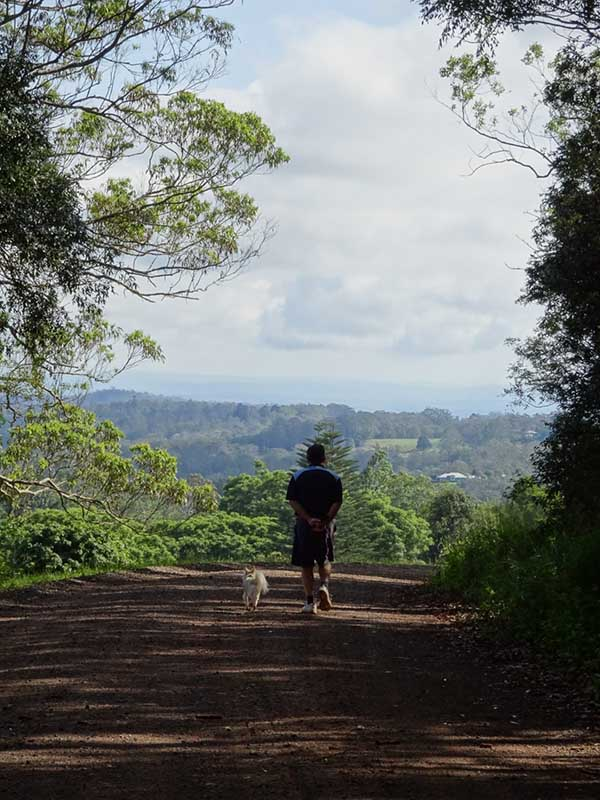Man and dog walking along dirt path forest in the background